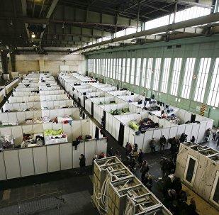 Un centre d'accueil des réfugiés. Image d'illustration