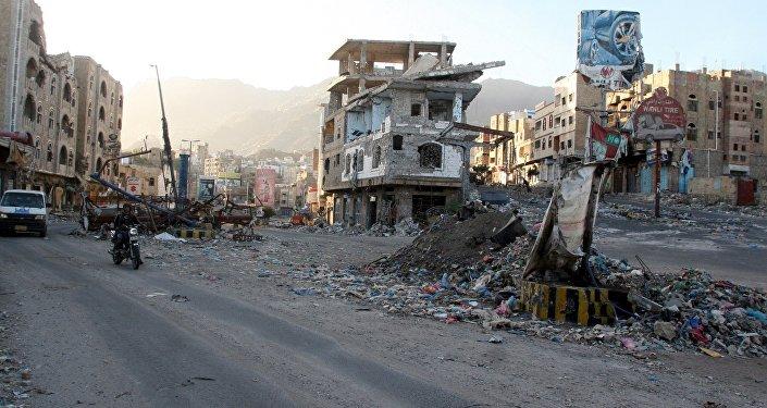 Les bâtiments détruits au Yémen