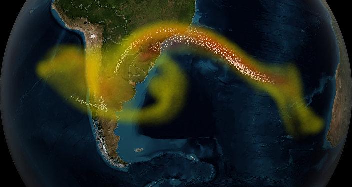 Mouvement des cendres volcaniques après l'éruption d'un volcan