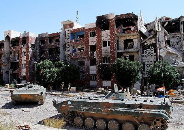 L'armée syrienne  à Hama