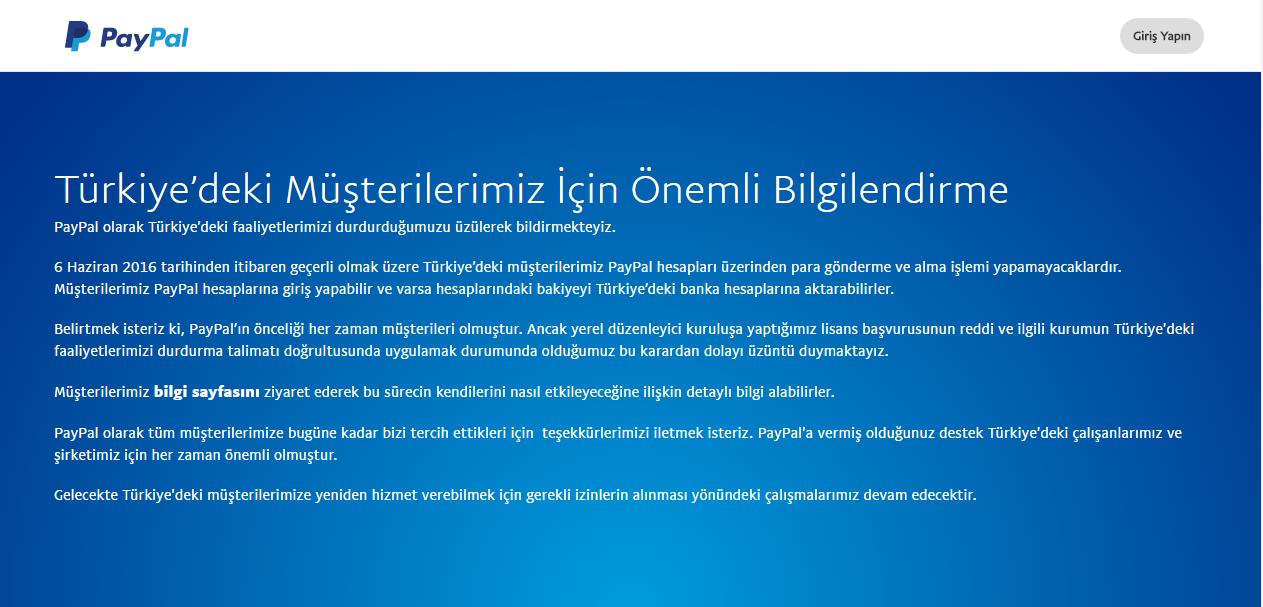 Le communiqué sur le site officiel du Paypal, annonçant la cessations des activités en Turquie