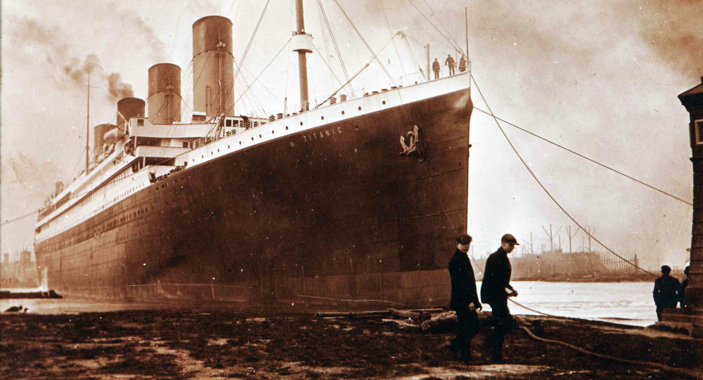 This image made available by the Ulster Folk & Transport Museum on Tuesday, Oct. 14, 2014, is a photograph of the Titanic in Belfast in a family album. The album featuring never seen before pictures was displayed Tuesday which showed the launch and departure of the Titanic from Belfast in 1912