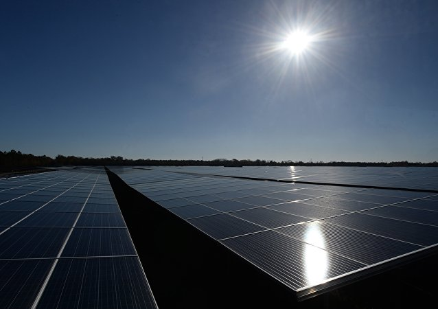 Panneaux solaires. Image d'illustration