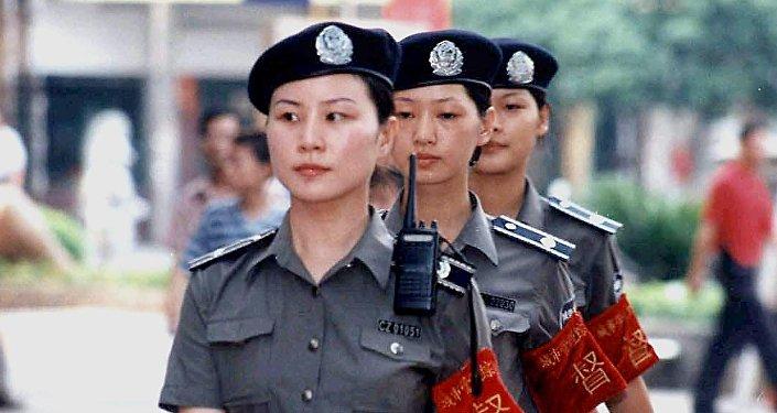 Patrouille féminine en Chine. Image d'illustration