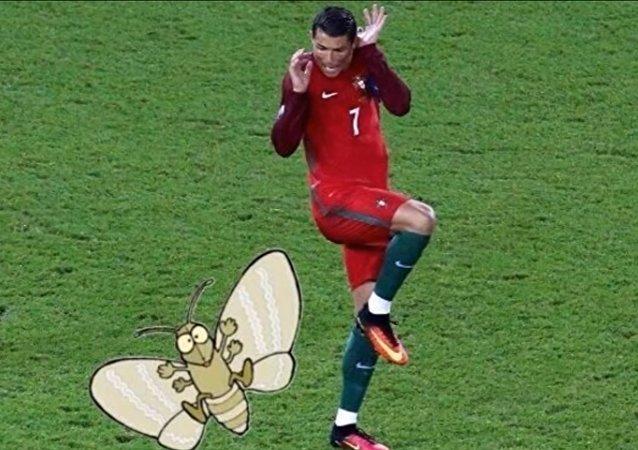 Un mème avec Cristiano Ronaldo et le papillon