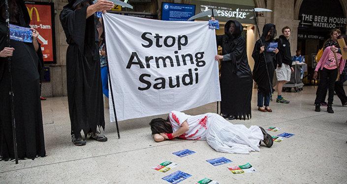 Une manifestation contre le salon aéronautique de Farnborough et surtout contre la vente d'armes à l'Arabie saoudite