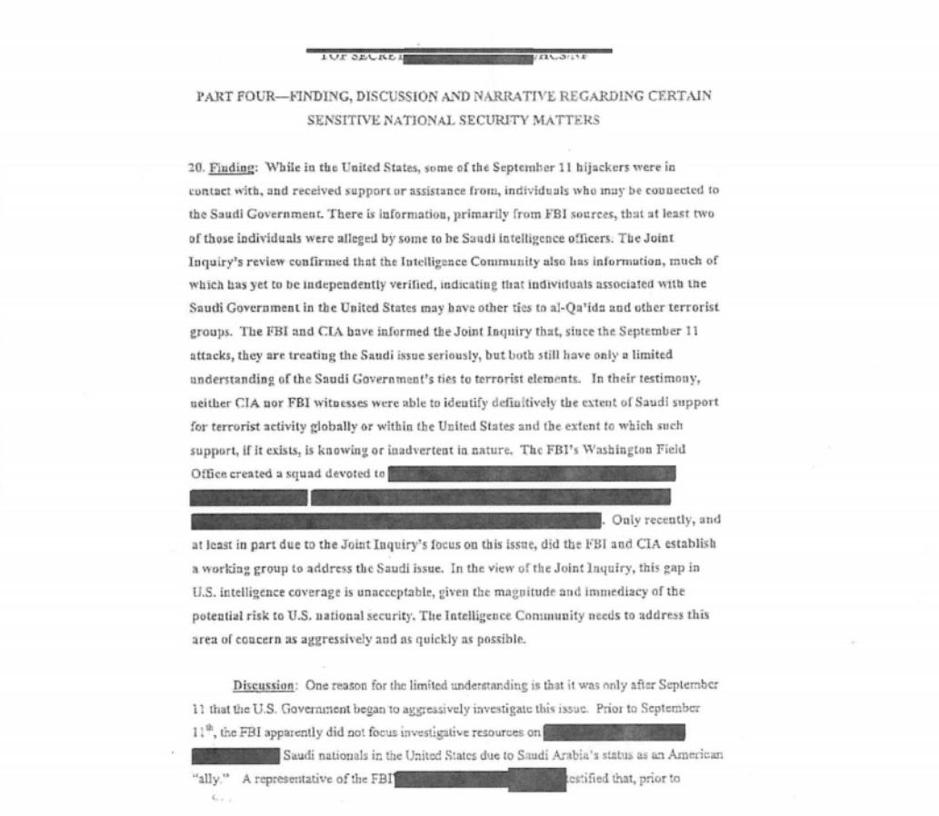 La première des 28 pages classifiées du rapport sur le 9/11