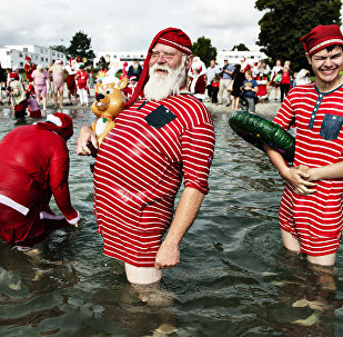 Le congrès mondial des Pères Noël à Copenhague