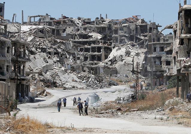 Destructions à Homs, en Syrie