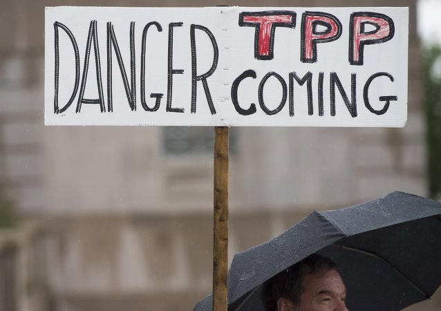 Une manifestation contre l'Accord de partenariat transpacifique (TPP)