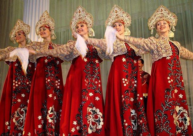 Danse populaire russe. Image d'illustration
