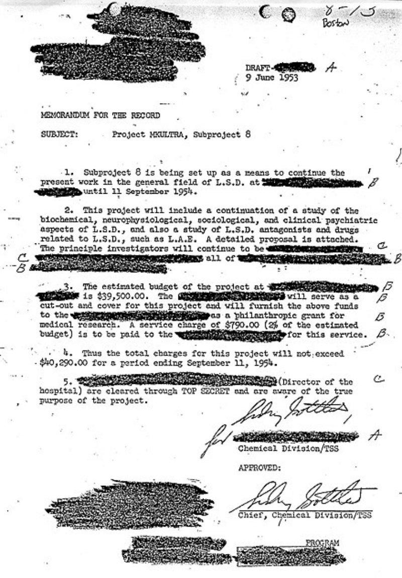 Lettre d'approbation du Dr Sidney Gottlieb d'un sous-projet de MK-Ultra sur le LSD