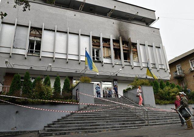 Bâtiment de la chaîne de télévision Inter TV à Kiev