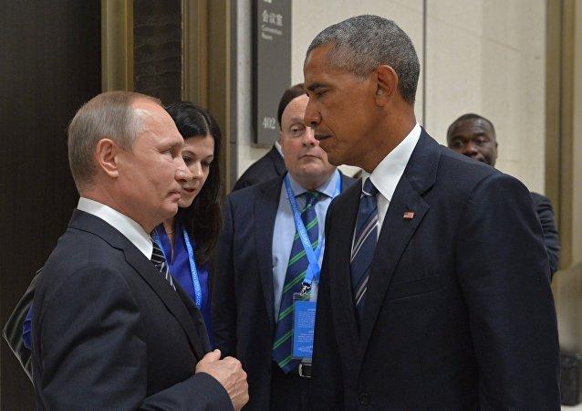Vladimir Poutine (à gauche) et Barack Obama en Chine