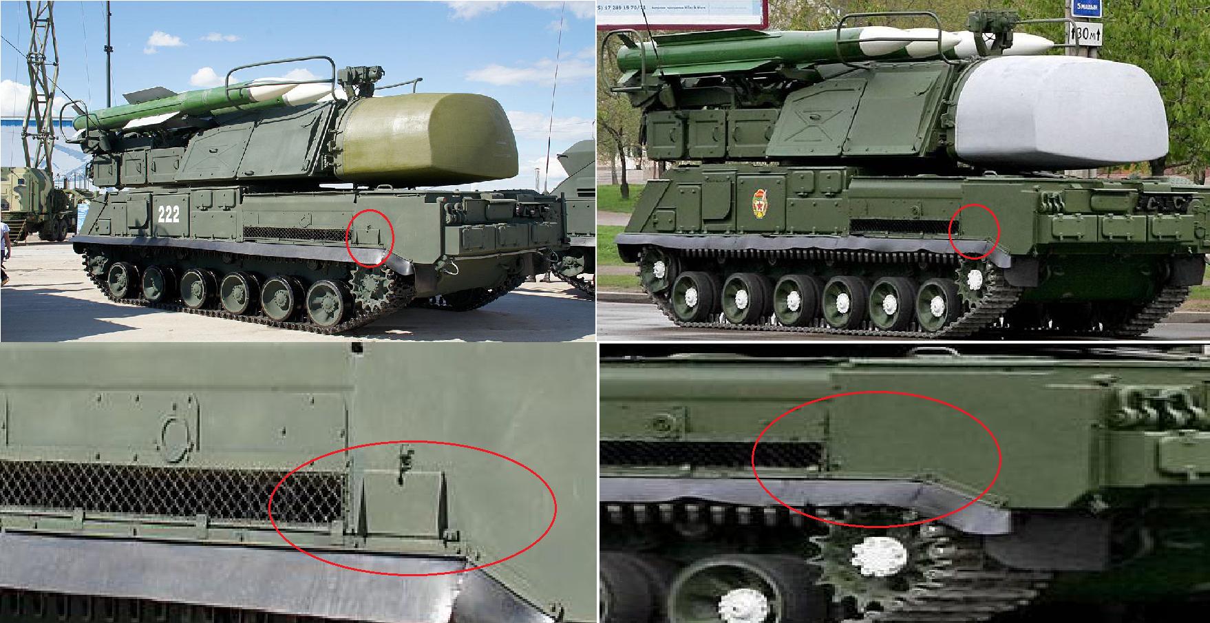 La modification du système antiaérien 9A310M1-2 (à gauche) et la version 9A310 (à droite)