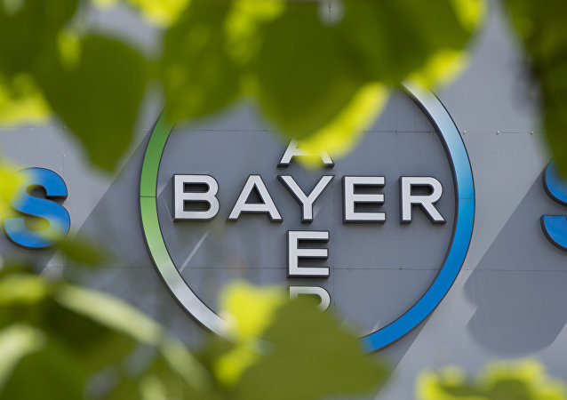 This file photo taken on July 24, 2013 shows a logo of German pharmaceuticals and chemicals giant Bayer on an overpass at its Berlin headquarters