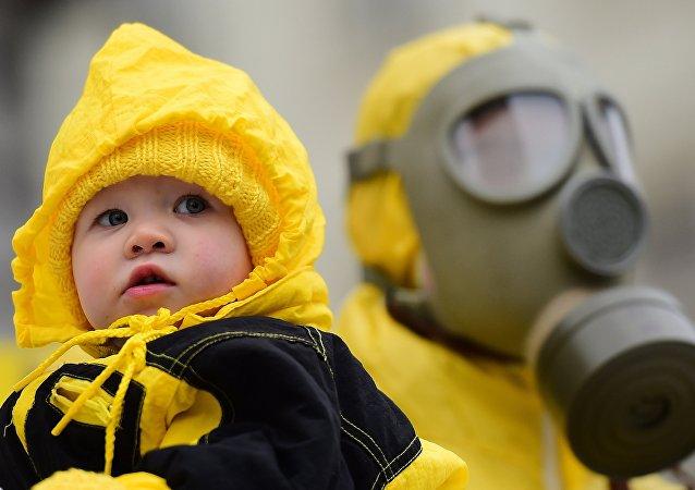 Protestation contre le manque de sécurité de centrales atomiques. Image d'illustration