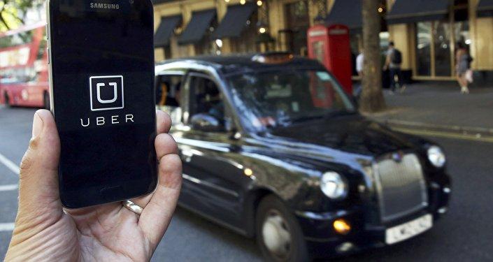 Le logo d'Uber sur un portable