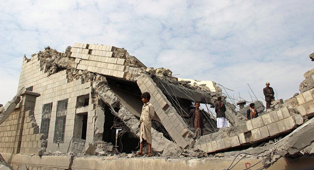 Une école détruite par l'aviation de la coalition arabe au Yémen (14 septembre 2016)