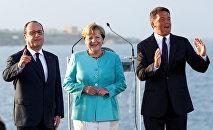 Matteo Renzi, Angela Merkel et Francois Hollande