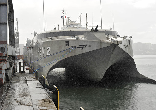 Le HSV-2 Swift, navire à grande vitesse de type catamaran