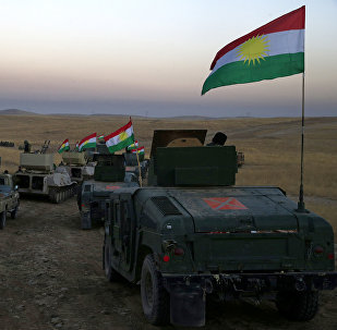 Un convoi de Peshmergas en train de rejoindre les forces principales près de Mossoul