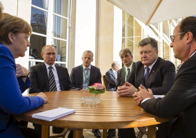 Réunion au sommet entre les leaders allemande, français, russe et ukrainien. Archive photo