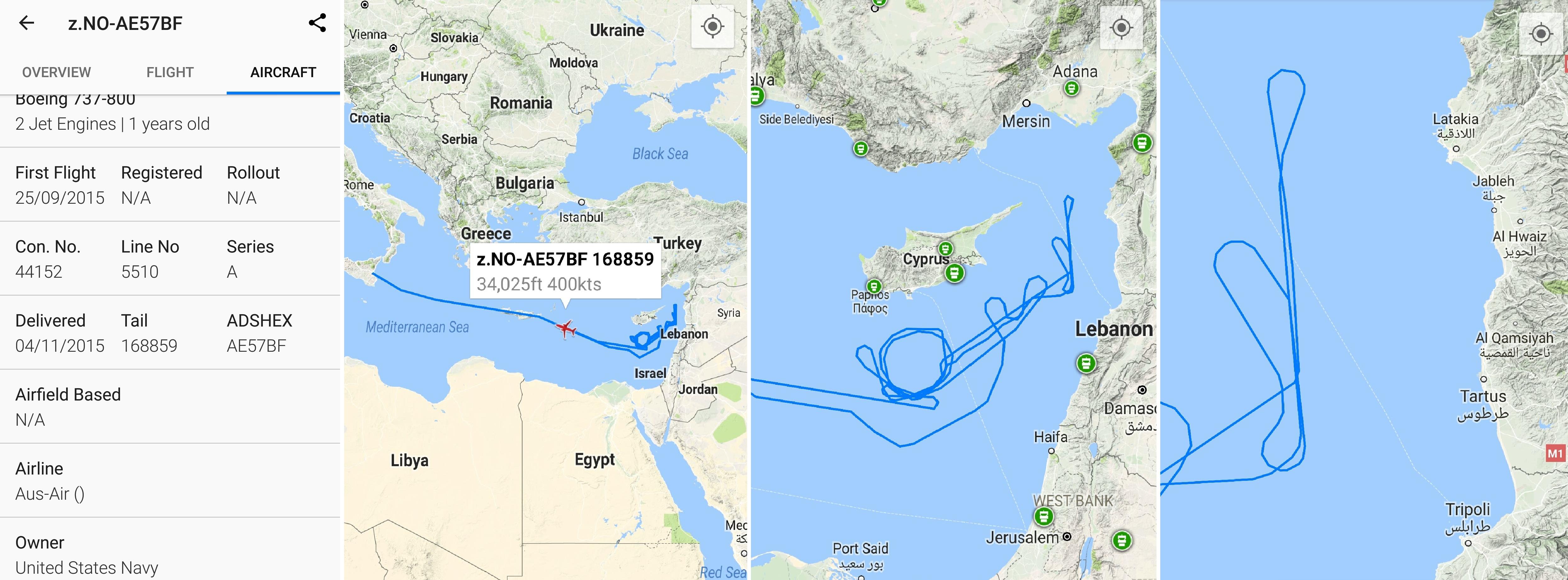 L'itinéraire de l'avion de patrouille américain le 23 octobre