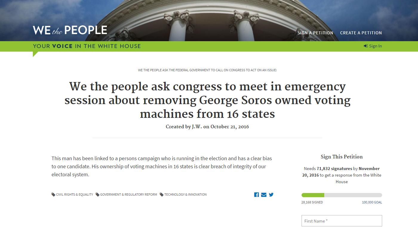 La pétition sur le site du Congrès US contre l'utilisation des machines de vote fournies par une entreprise liée au financier George Soros