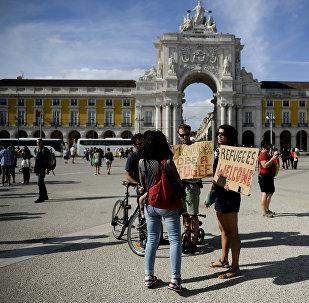 Une manifestation de soutien aux migrants à Lisbonne