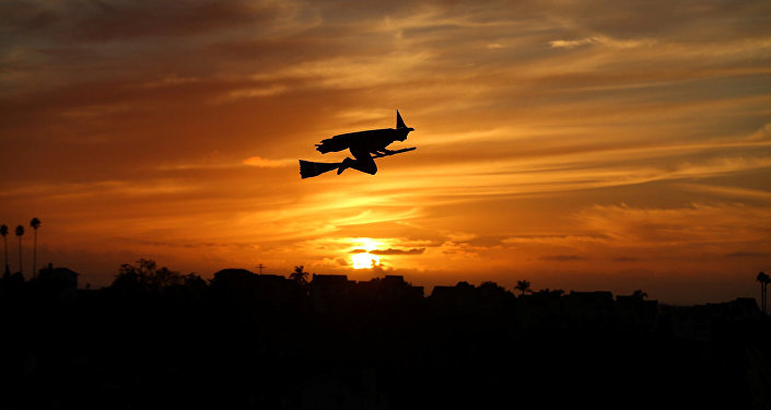 A remote-controlled plane in the form of a witch flies over a neighborhood as the sun sets during Halloween in Encinitas, California, U.S. October 31,2016