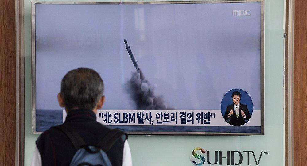 Lancement d'un missile de moyenne portée, Corée du Nord. Archive photo