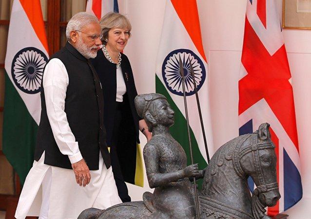 a visite de la première ministre britannique Theresa May à New Delhi