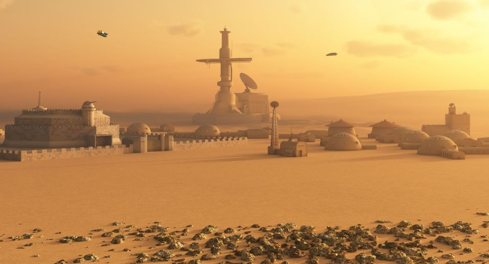 Base sur Mars. Image d'illustration