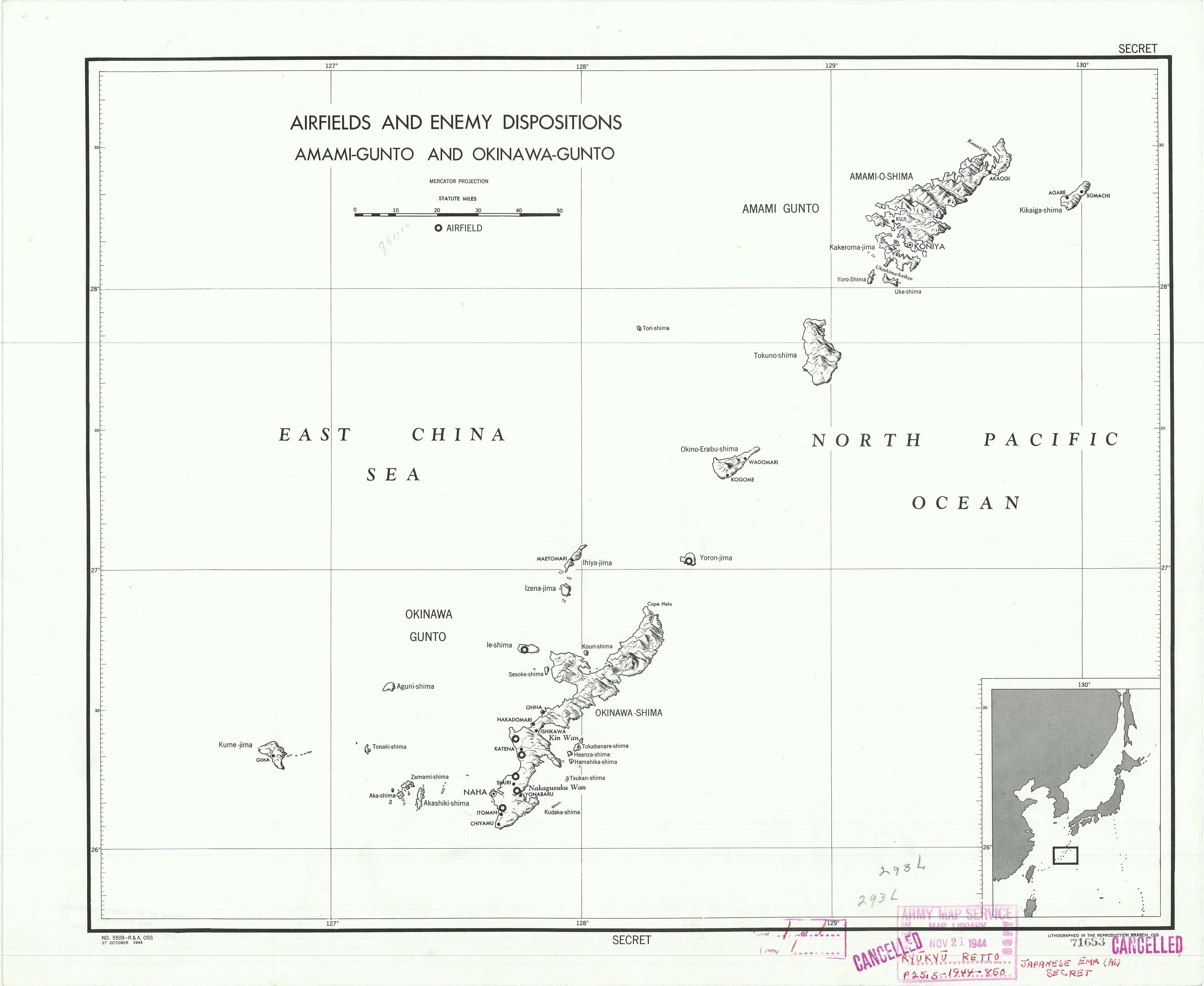 Les positions ennemies à Okinawa, 1944