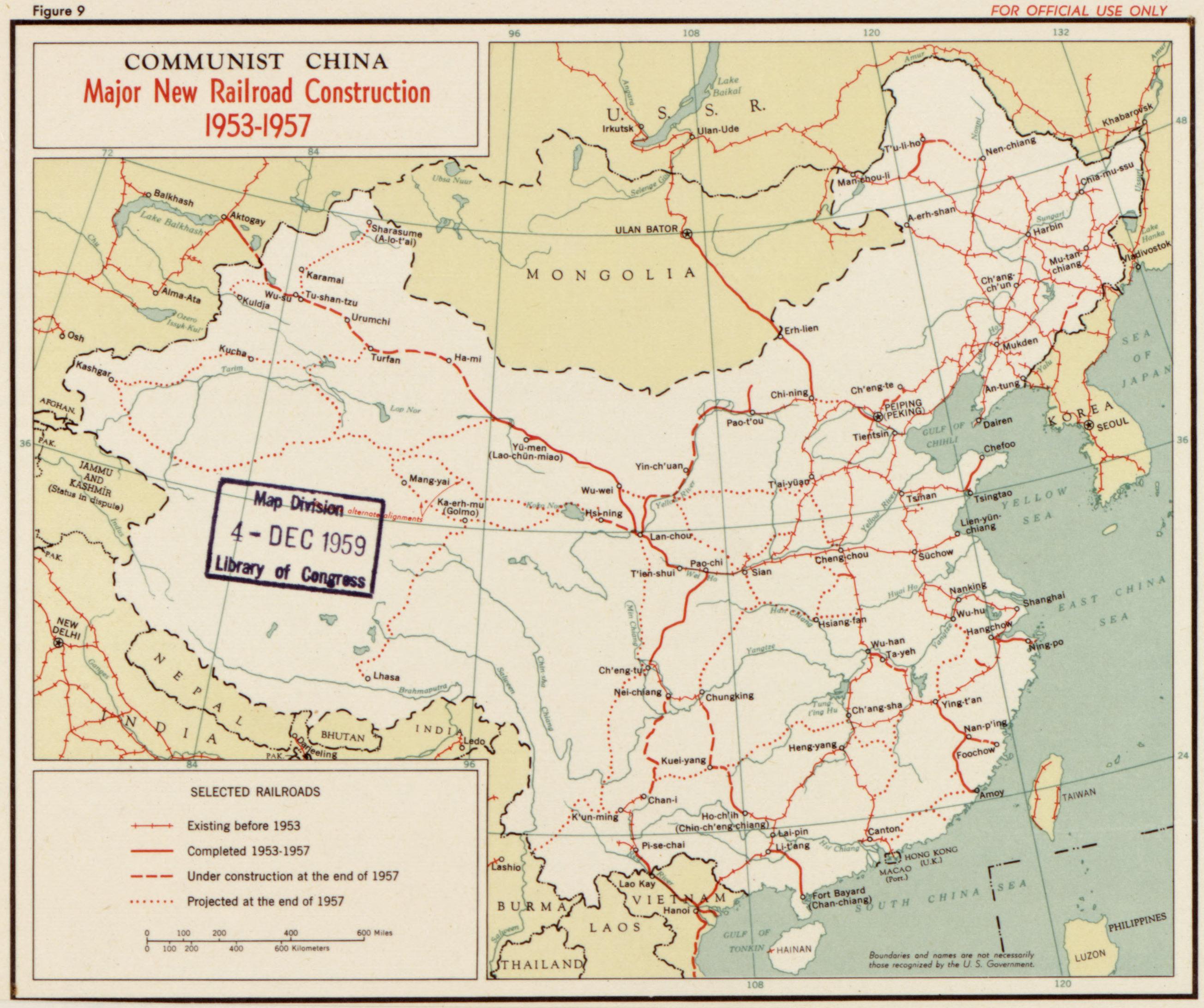 Le réseau ferroviaire de la Chine 1957