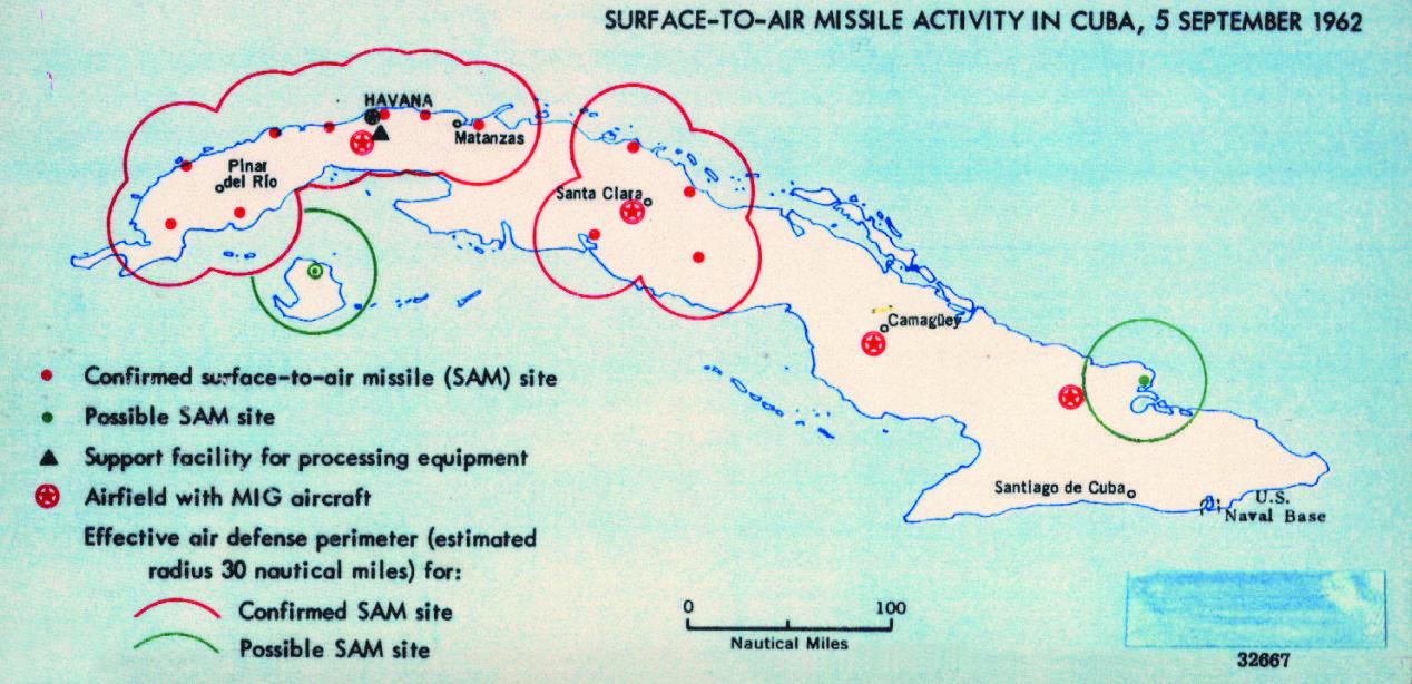 Les positions des missiles soviétiques à Cuba, 1962
