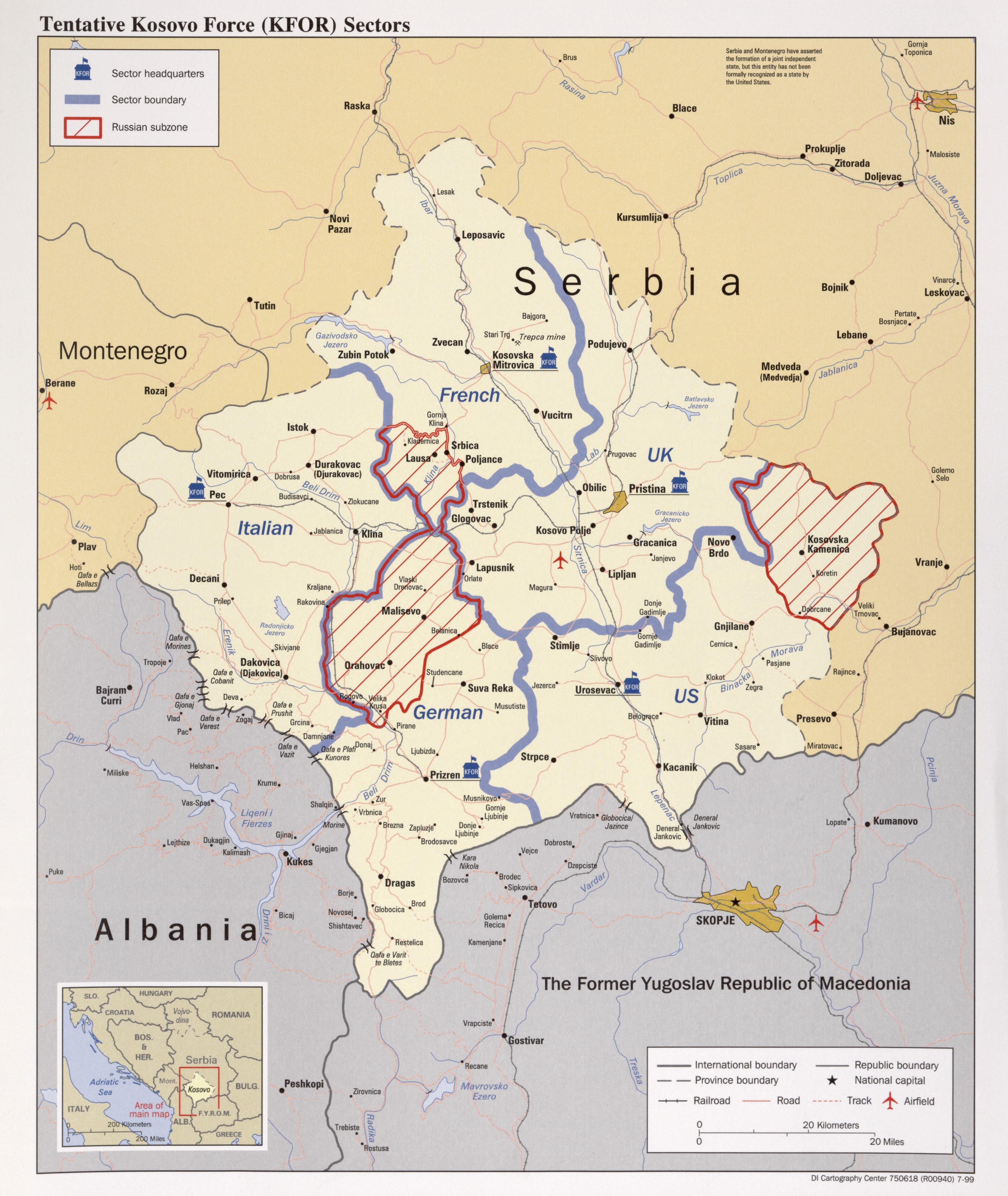 Les positions des Forces pour le Kosovo, 1999
