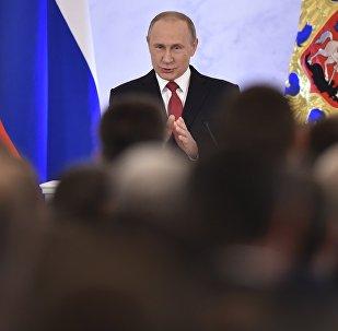 Vladimir Poutine lance un discours devant l'Assemblée fédérale