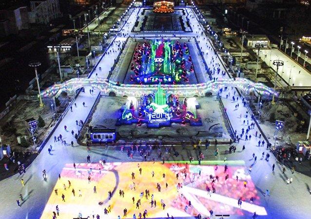 patinoire à Moscou