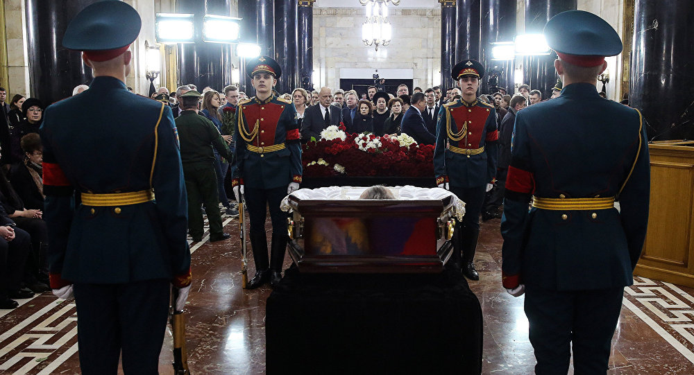 Сérémonie d'adieu à Andreï Karlov au ministère russe des Affaires étrangères