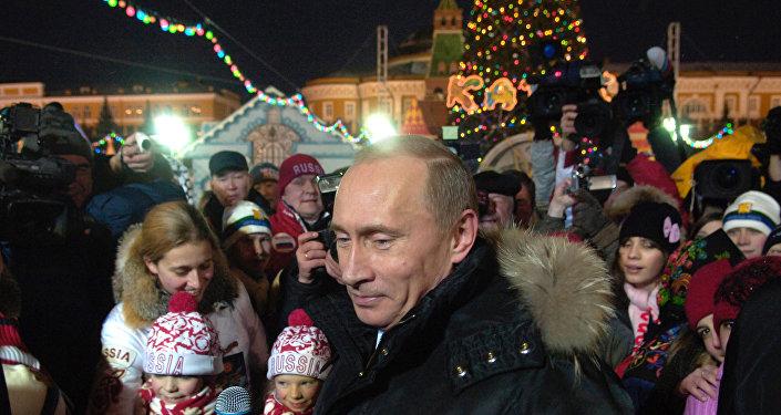 Vladimir Poutine sur la Place Rouge. Archive photo