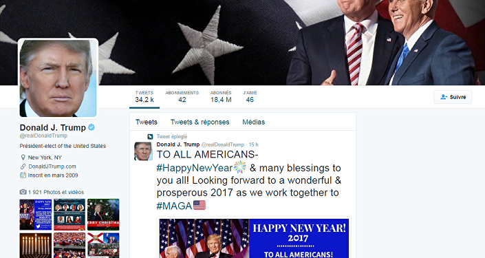 La page officielle de Donald Trump sur Twitter