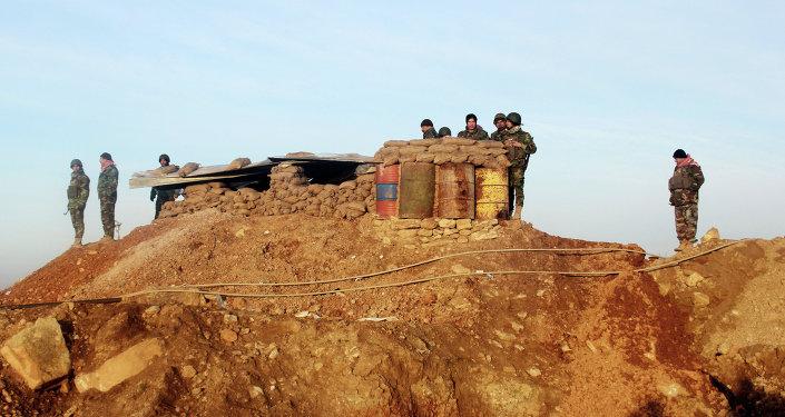 Les peshmerga kurdes lors de la bataille du barrage de Mossoul
