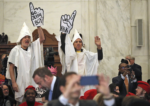 Fake KKK Klansmen Welcome Senator Sessions at Confirmation Hearing