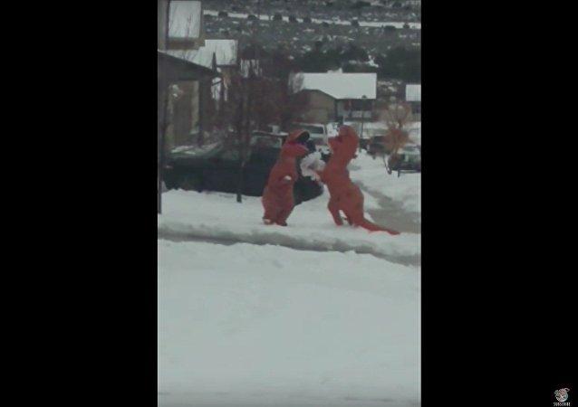 Bataille de boules de neiges entre dinosaures