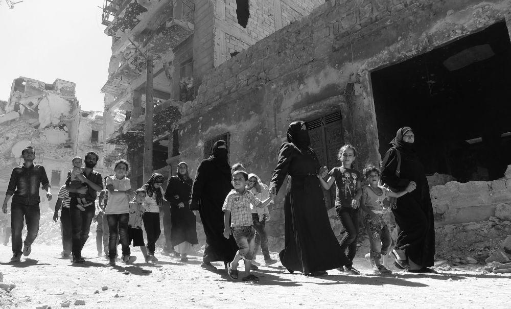 L'évacuation des civiles du quartier Salah ad-Din. Alep, le 18 septembre 2016