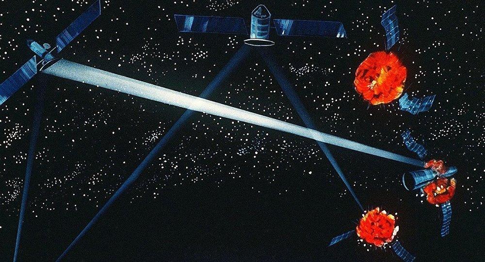 Une arme laser spatiale (concept d'artiste de 1984)