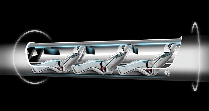 Une capsule d'Hyperloop avec des passagers à bord