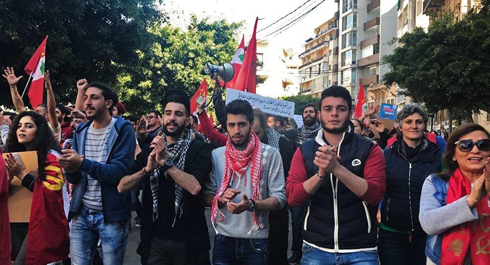 Une manifestation pacifique des militants du Parti communiste libanais